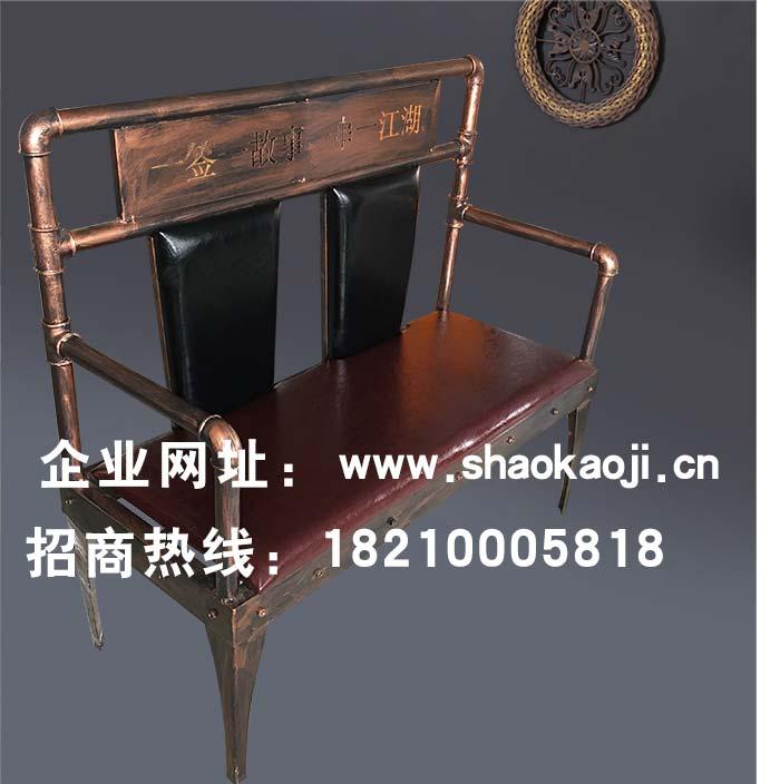 食之秀简单铁艺烧烤长椅 串越时光专业烧烤桌椅定做加工