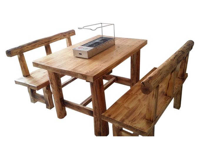 食之秀田园风烧烤桌椅_松木实木烧烤桌椅批发定做