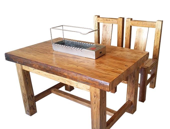 很久以前烧烤桌椅定做加工 老榆木烧烤桌椅 自动烧烤炉商用