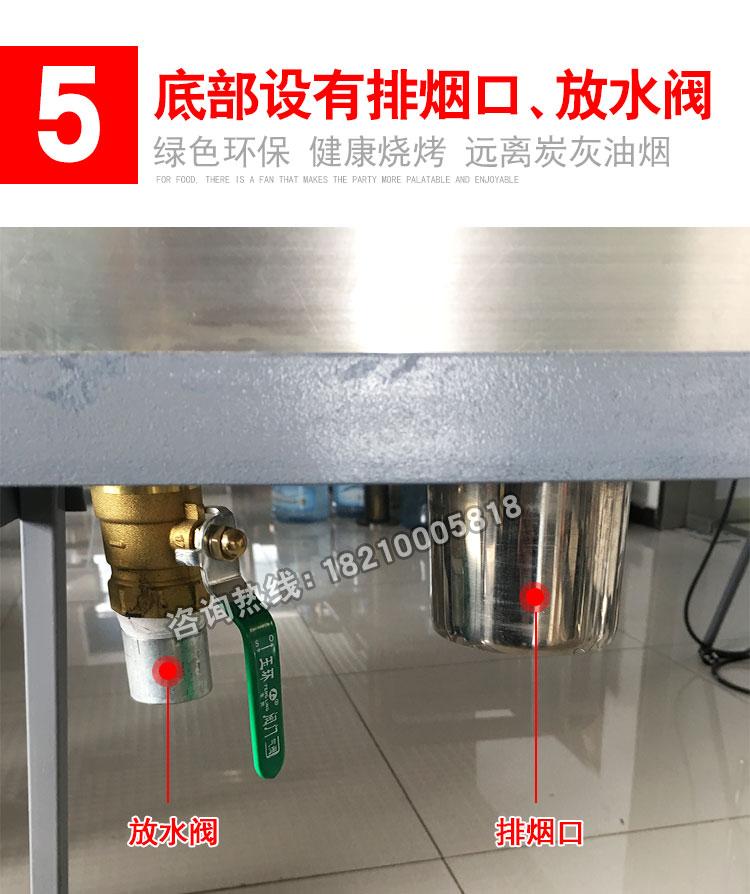食之秀丰茂款自动电烤炉优势五底部设备排烟口和放水阀