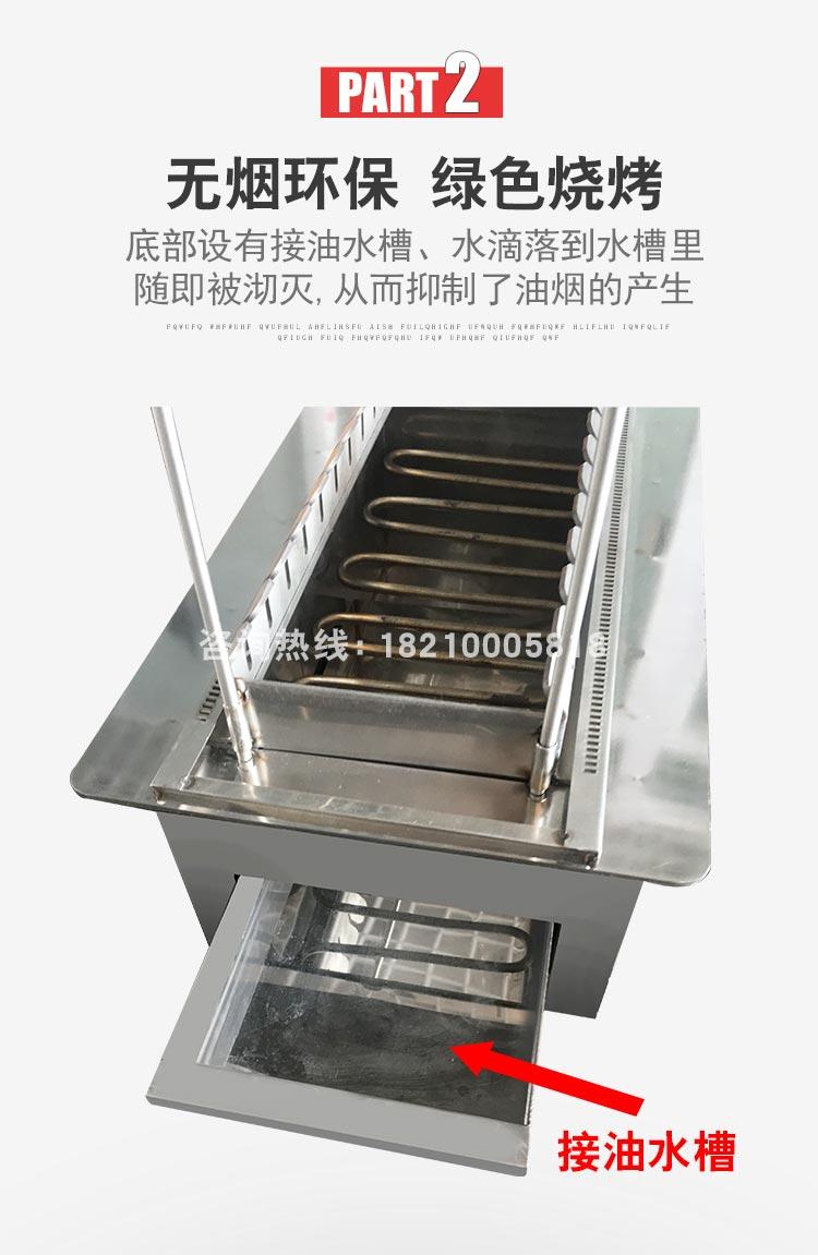 食之秀最新款黑晶管自动电烤炉优势二 底部设有接油水槽 抑制油烟产生