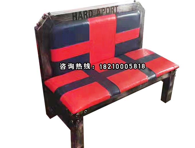 食之秀方管软包卡座红色米字款 很久以前烧烤桌椅定做加工