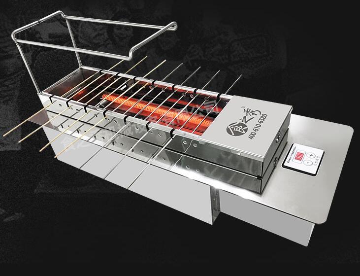 商用电烤炉竹签钢钎两用无烟自动翻转电烤炉图片