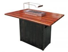 仿实木纹不锈钢烧烤桌配食之秀13串木炭自动烧烤炉