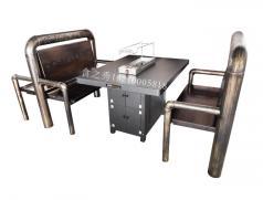 烧烤店商用烧烤桌椅定做加工_黑金烤漆烧烤桌