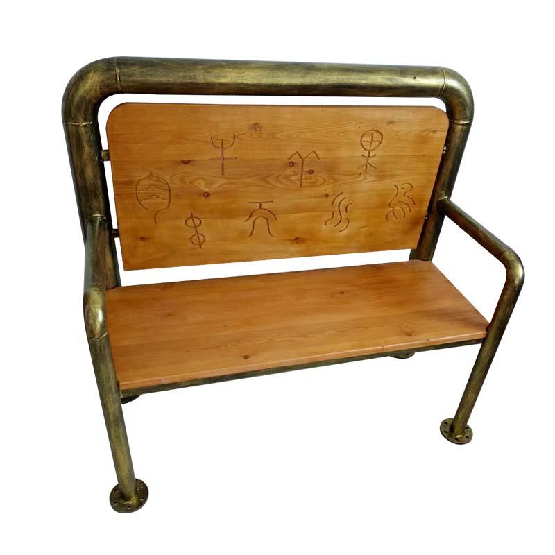 食之秀做旧仿铜管椅实木靠背椅 烧烤店专用烧烤桌椅定做加工