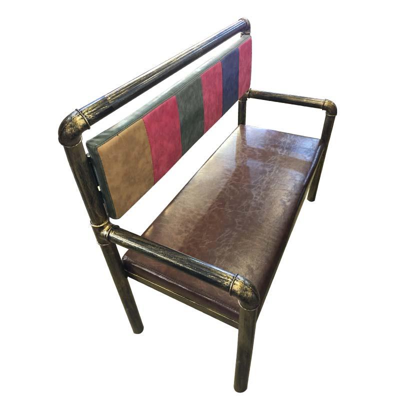 食之秀软包铁管长椅(风格二) 烧烤店用桌椅批发定做