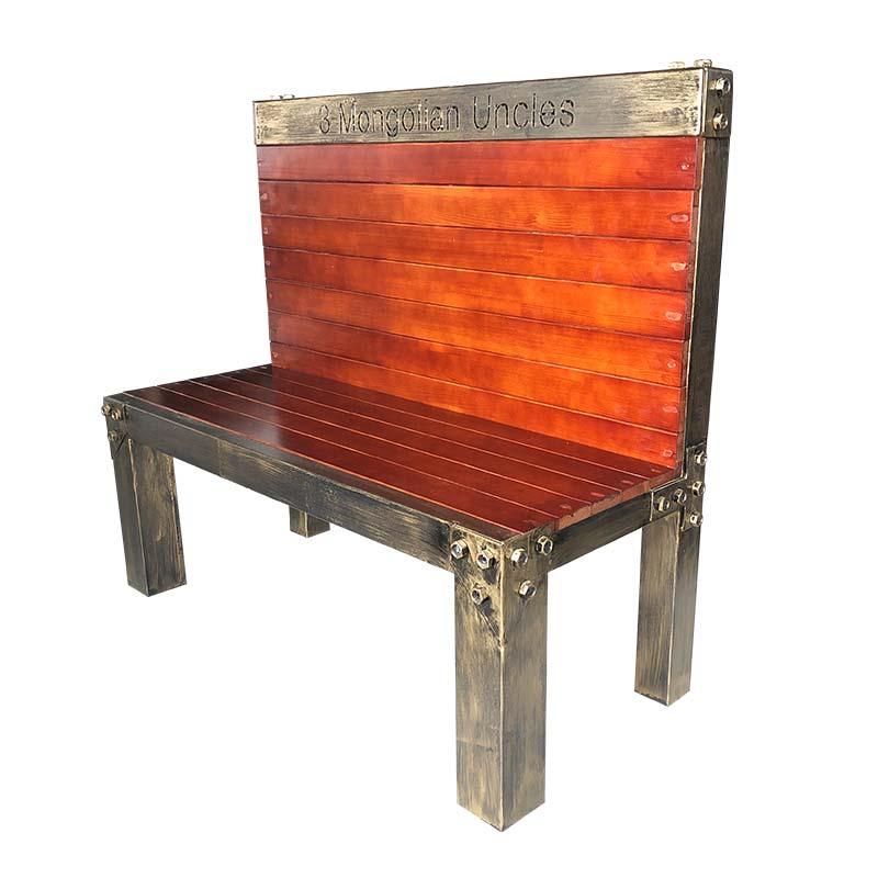 食之秀复古钢木卡座 烧烤店用卡座 餐椅 烧烤桌椅定做批发