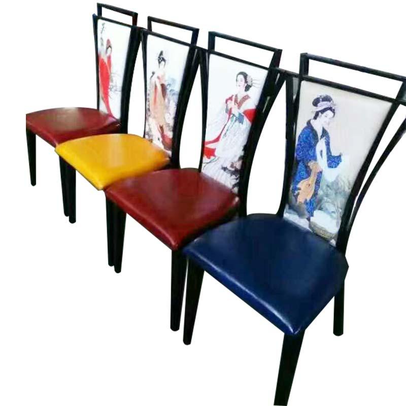 食之秀重回唐朝铁艺单椅,可定制各种风格靠背,烧烤店专用座椅批发
