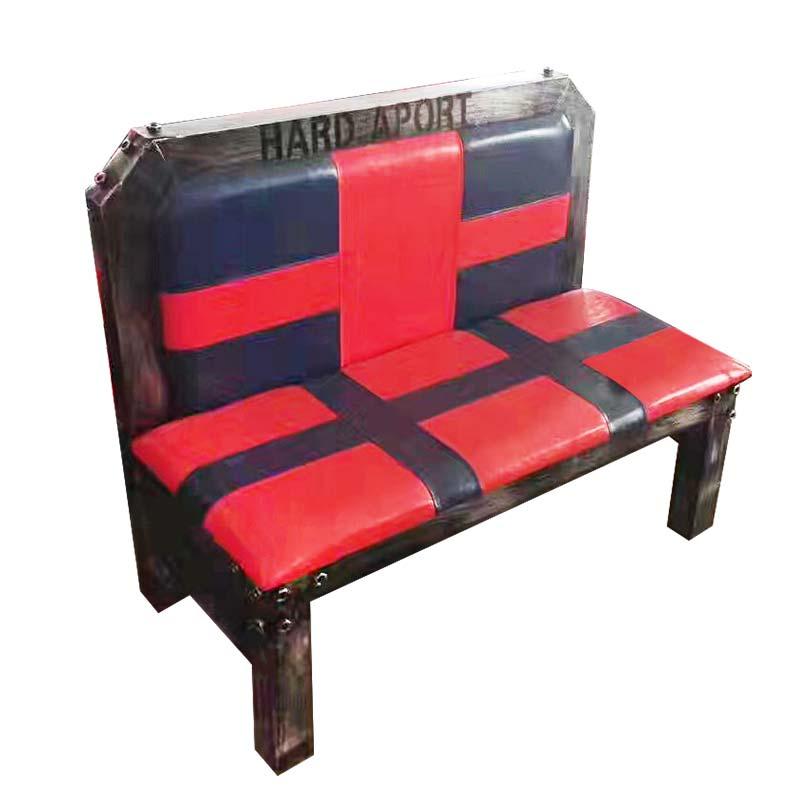 食之秀方管软包卡座红色款 烧烤店英伦风软包卡座批发 烧烤桌椅定做加工