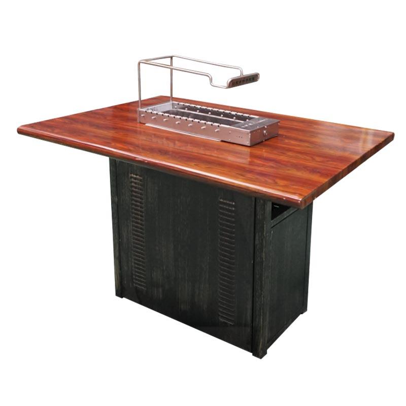 仿实木纹不锈钢烧烤桌配13串木炭自动烧烤炉,不锈钢烧烤桌椅定做加工,厂家直销