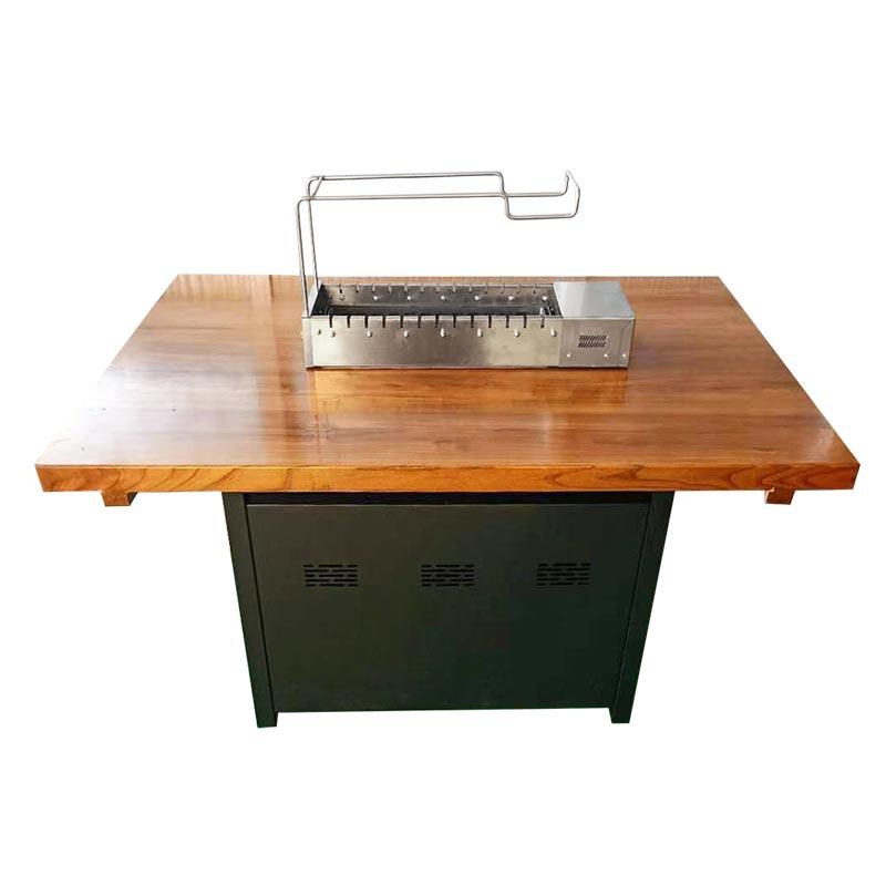 松木桌面配木炭烧烤炉 实木烧烤桌椅定做加工 实木烧烤桌椅批发