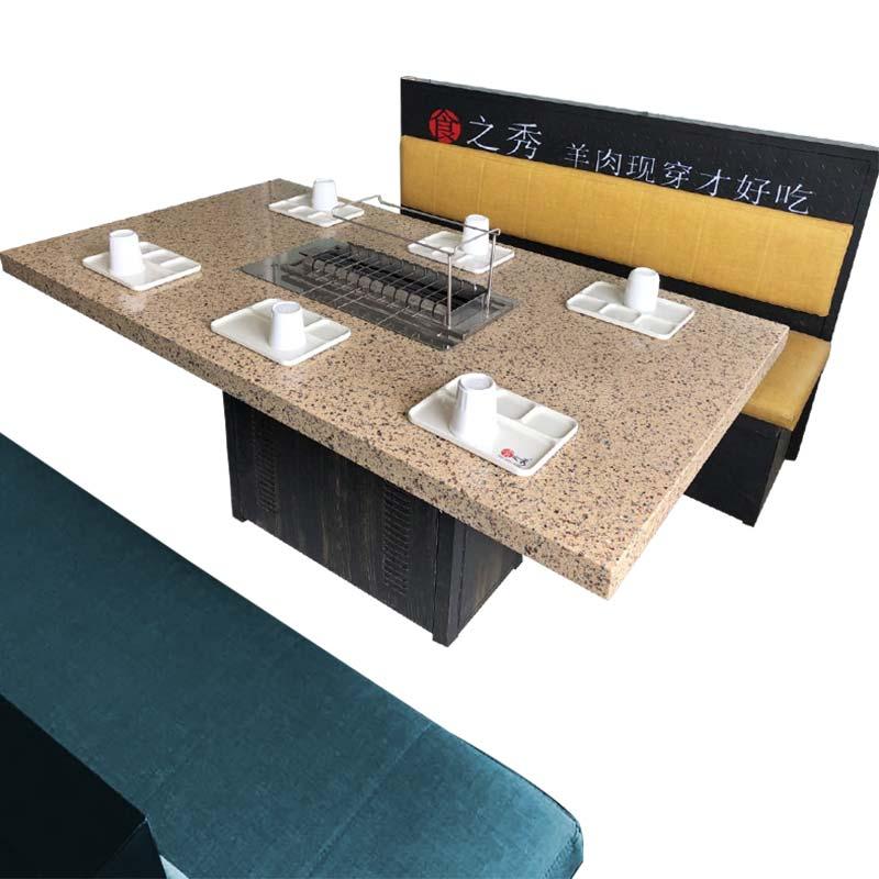 石英石烧烤桌,大理石烧烤桌椅定做