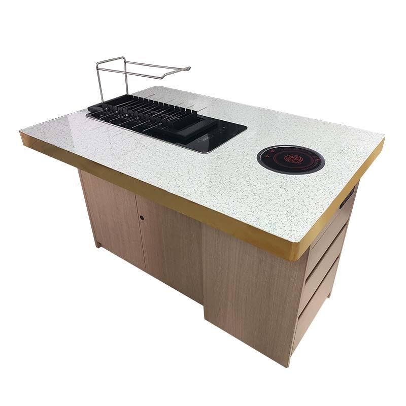 大理石烤涮一体桌定做加工 大理石烧烤桌批发厂家
