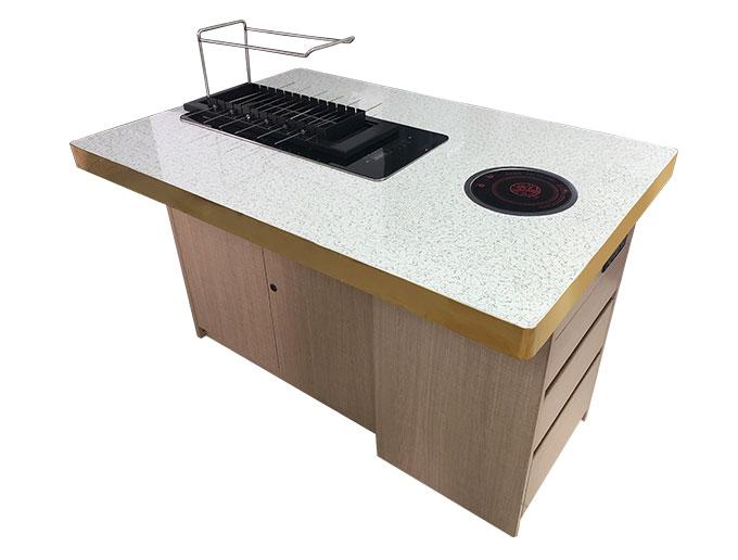烧烤店商用大理石烤涮一体桌定做加工 大理石烧烤桌批发厂家