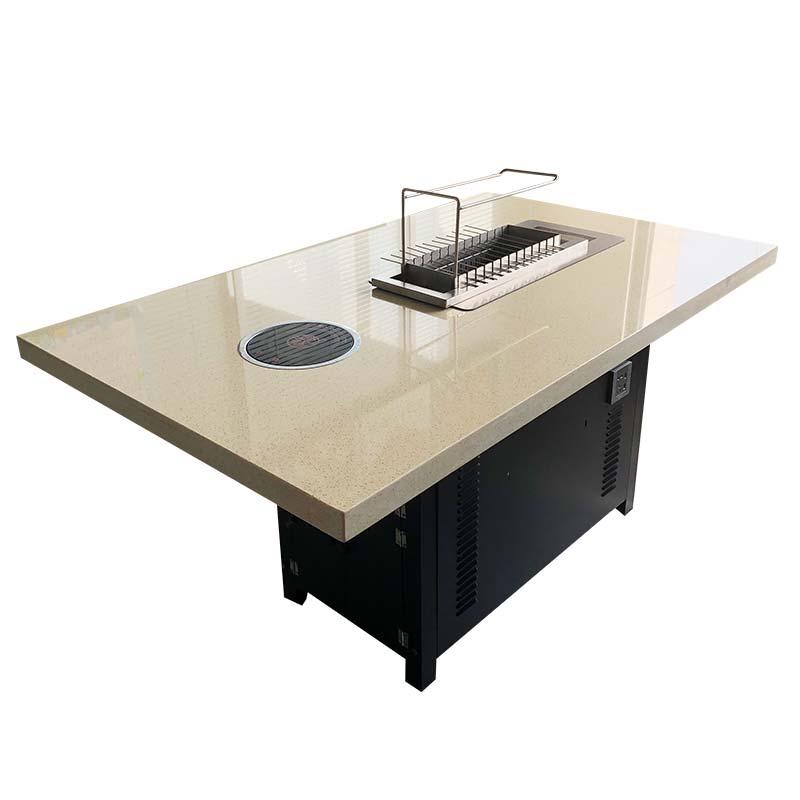 食之秀大理石烤涮一体桌 大理石烧烤桌 大理石烧烤桌椅定做加工