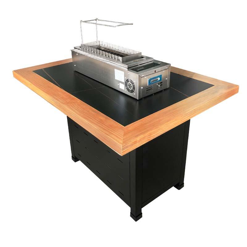 食之秀新派岩板烧烤桌 大理石自动翻转烧烤桌 大理石烧烤桌椅定做加工