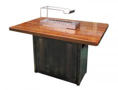 仿实木纹不锈钢烧烤桌配食之秀新款13串木炭自动烧烤炉